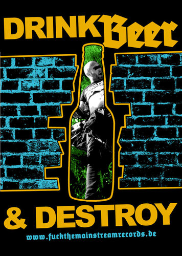 "DRINK BEER & DESTROY - ""herz"" POSTER A3"