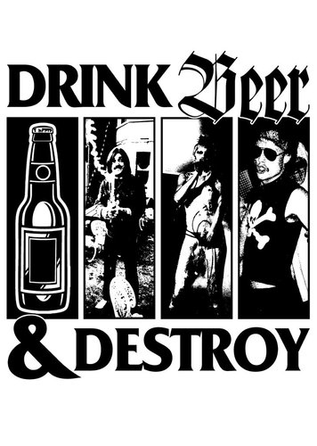 "DRINK BEER & DESTROY - ""black flag"" POSTER A3"